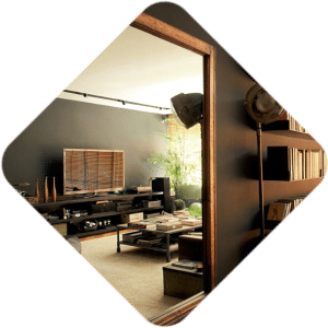 Rio apartment Flatiron Building copper window mirror