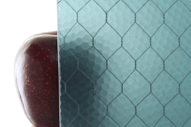 Aqua Pebbled Chicken Wire Glass | Olde Good Glass
