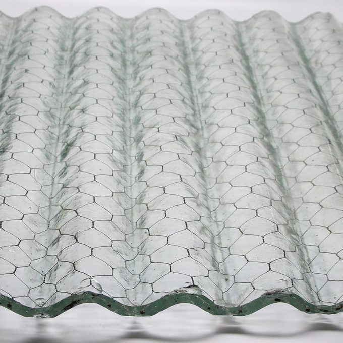 Clear corrugated chicken wire glass