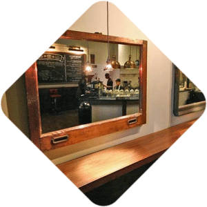 McAlpin Hotel reclaimed copper window mirrors
