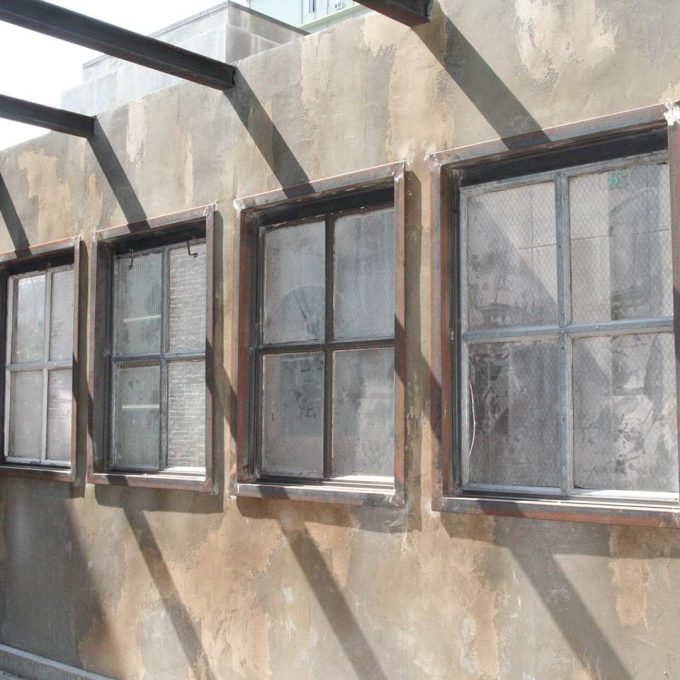 The Stork reclaimed industrial chicken wire glass windows