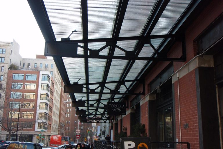 West Village NYC clear corrugated chicken wire glass canopy